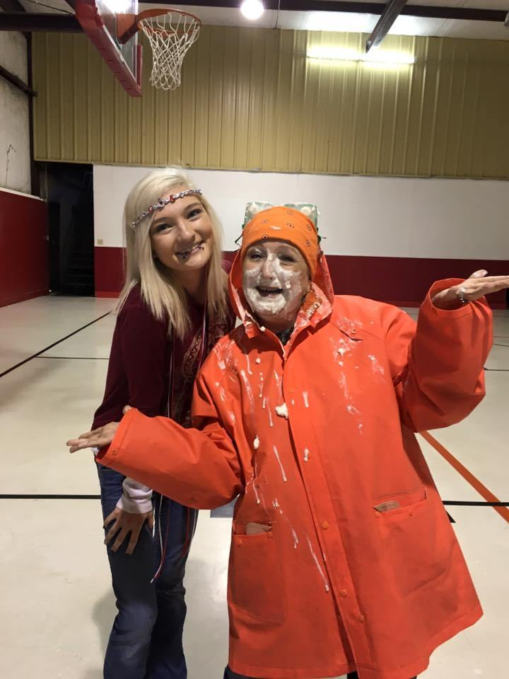 Crosstimbers Academy Student and Teacher Enjoying a Pie to the Face